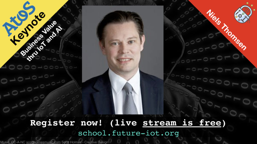 """Niels Thomsen gives a keynote on """"Business Value through IoT and AI"""""""